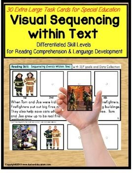 BRAND NEW JANUARY 2015 RELEASE! Autism - Sequencing Pictures within Text Task Cards for and Special Education WITH DATA. My students and I have fallen in love with this activity! Complete with 40 Extra Large Sequencing Task Cards, reading comprehension becomes a breeze!