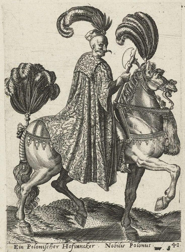 Polish nobleman on horseback by Abraham de Bruyn, 1577 (PD-art/old), Rijksmuseum