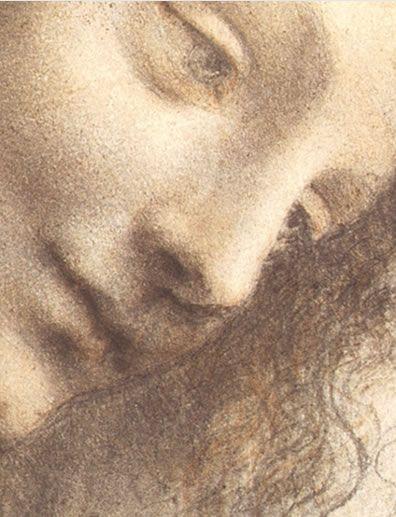 Drawing head of the virgin by Leonardo da Vinci