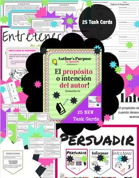 Proposito del Autor  - Authors Purpose in Spanish task card set includes posters for:PIE (foot mnemonic) P- Persuadir I- InformarE- EntretenerHere are 25 cards to help your students practice determining the author's purpose. This activity is will make analyzing for authors purpose fun and engaging.