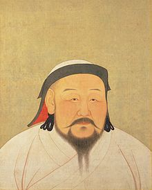Kublai Khan, Genghis Khan's grandson and founder of the Yuan Dynasty. Painting from 1294
