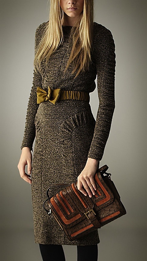 Burberry - TWEED JERSEY FITTED DRESS