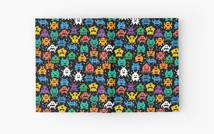 Pixelated Emoji Monster Pattern Illustration by Gordon White | Emoji Monster Open Hardcover Journal Available @redbubble --------------------------- #redbubble #emoji #emoticon #smiley #faces #cute #addorable #hardcover #journal #pattern