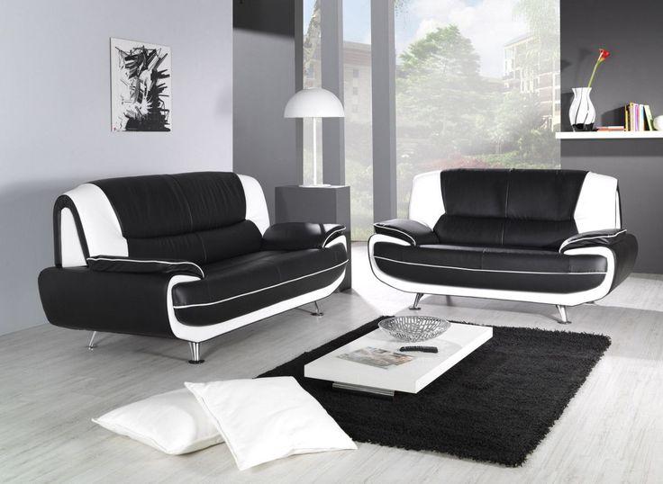 Ensemble De Canape 3 2 Pvc Noir Et Blanc Design Nino Canape Blanc Cuir Canape En Cuir Canape Retro