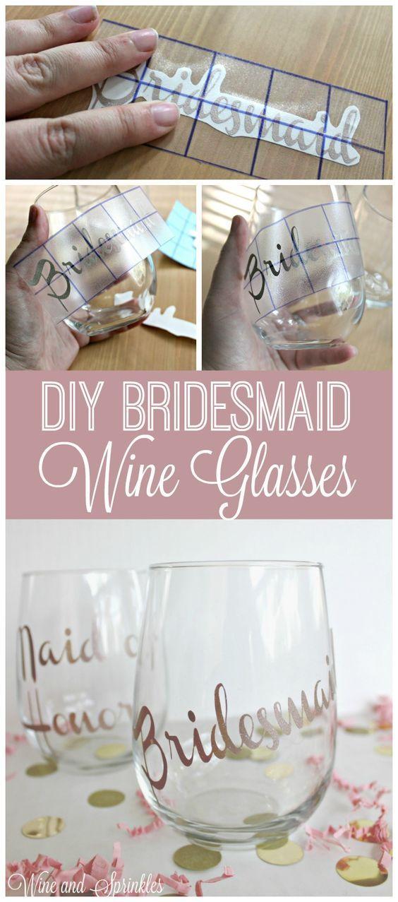 DIY Bridesmaid Wine Glasses