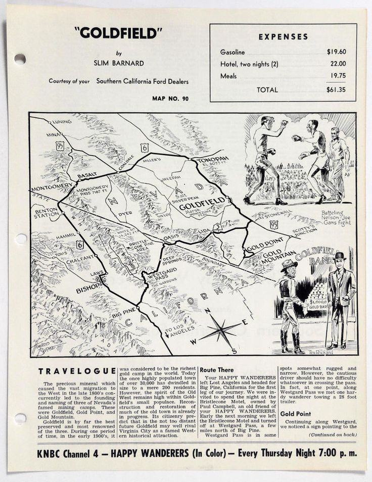 1960's GOLDFIELD GOLD POINT MOUNTAIN Happy Wanderers Travelogue Slim Barnard Map