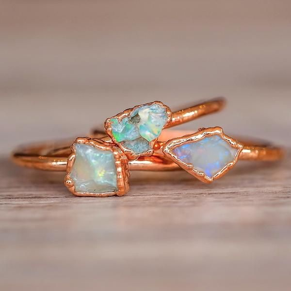 Dainty Raw Opal and Copper Rings  indieandharper.com