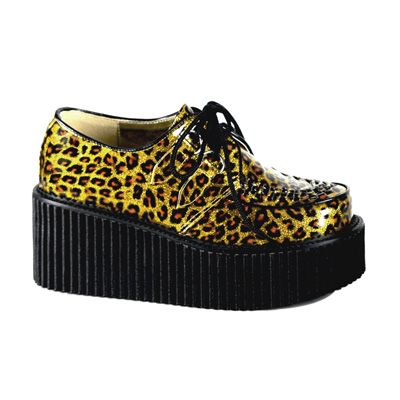 panther creepers http://www.attitudeholland.nl/haar/schoenen/creepers/creepers-laag/creeper-208-gold-cheetah-glitter-de/