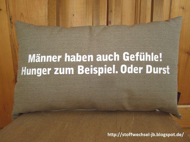 Geschenkidee Mann, Vater, bruder, Onkel Kissen mit spruch  http://stoffwechsel-jb.blogspot.de/