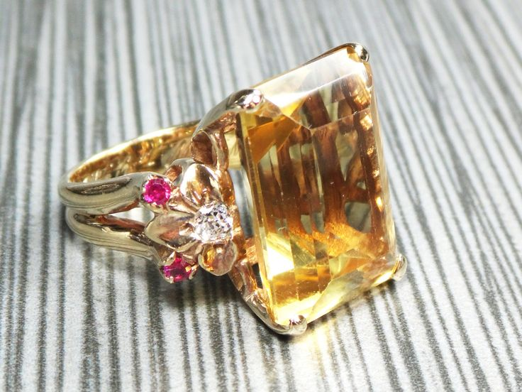 Vintage Retro Gold Citrine Ring Yellow Gold 14k Large Citrine Ring Ruby Diamond Golden Stone 1940's Retro Ring Floral November Birthstone by BelmarJewelers on Etsy