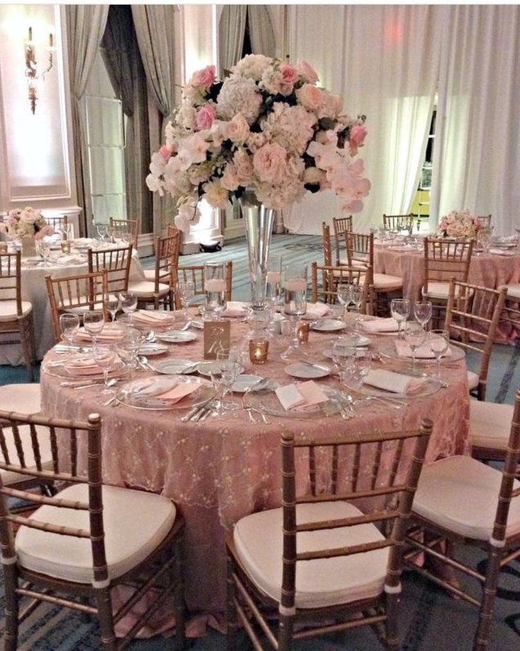 Beautiful Pink And Gold Wedding White Raised Fl Centerpieces Chairs Tablecloths Decorations In 2018 Pinterest