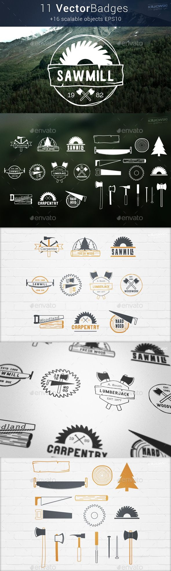 Carpentry Wood Badges Logos Carpentry Wood Badges are premade insignia style logos perfect for carpenter, lumberjack and wood related design. You can use it in both personal and commercial projects for yourself, your company or your customer. All texts are editable only free fonts were used (links to fonts included).  You will get: 11 Vector Badges Logos Additional scalable elements Vector EPS and AI files Raster PSD, PNG and JPG files Color and Monochrome versions