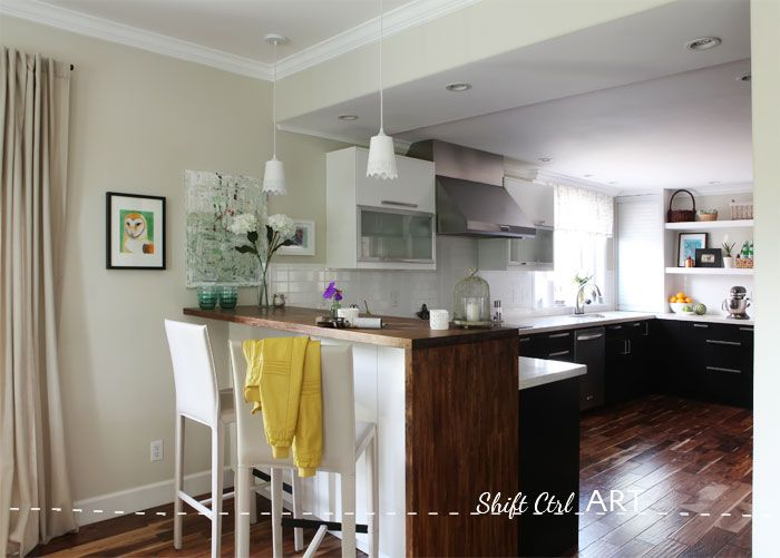 #DIY #Kitchen #remodel before and after,  IKEA, Caesar stone, Acacia hardwood floors.