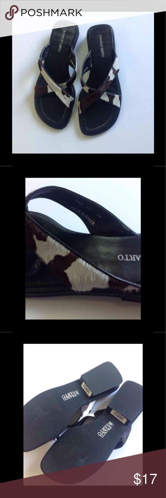 Sandals Franco Sarto size 9M Black Cow Fur Slip on Franco Sarto cow fur sandals size 9 M Franco Sarto Shoes Sandals