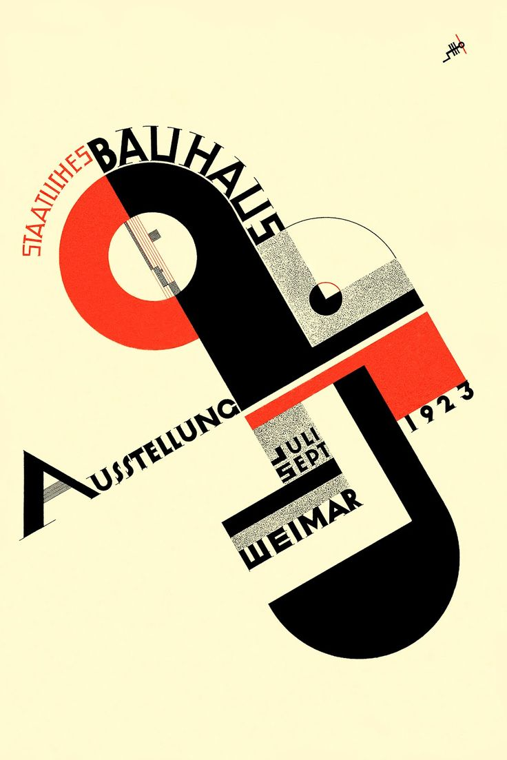 Poster design history - Poster For The 1923 Bauhaus Exhibition In Weimar Lithograph Author Joost Schmidt Bauhaus Archiv Berlin