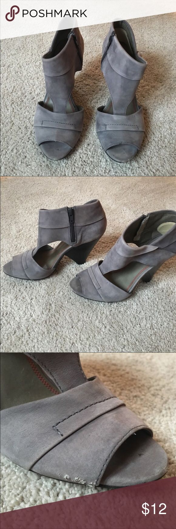 Miss Sixty Gray Heels, in good condition!!.. Miss Sixty Grey Heels, in good condition with unique triangle heels!!..Just 2 small lil marks as seen in 2nd and 3rd pictures, barely seen when worn!..Super Super Cute on!... and remember I excepting all reasonable offers and bundles!!... Miss Sixty Shoes