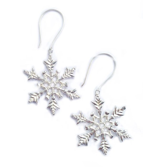 #Silver plated #snowflake earrings by Justine Brooks. On sterling silver hooks. #whistler #winter #jewelry