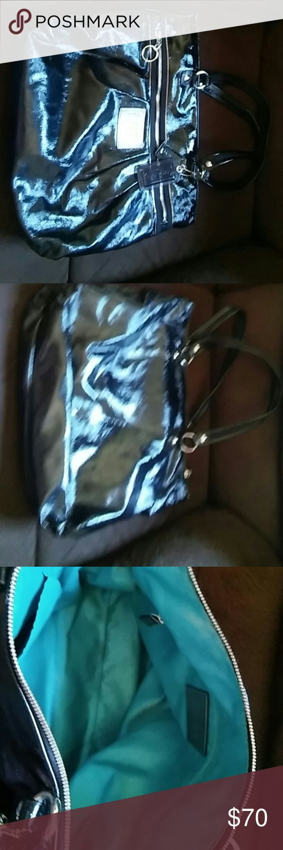 Black patent leather Coach Poppy tote All black large tote. In great condition. Well taken care of. And handbags come with it. Coach Bags Totes