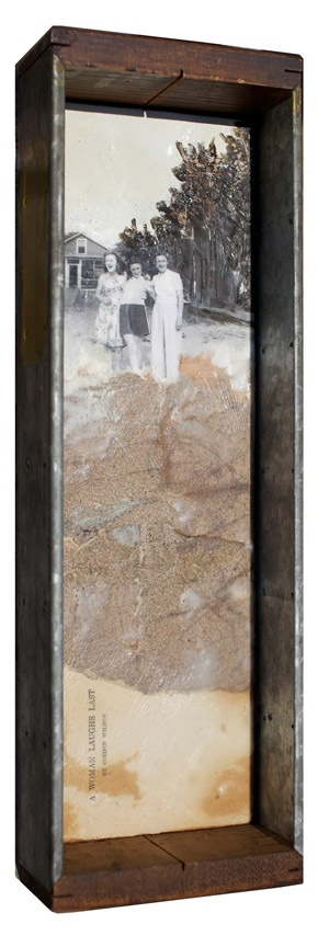ReVision No. 5, Robin Luciano Beaty, Encaustic, mixed-media and vintage found objects, 17 inches by 5.5 inches, ready to hang