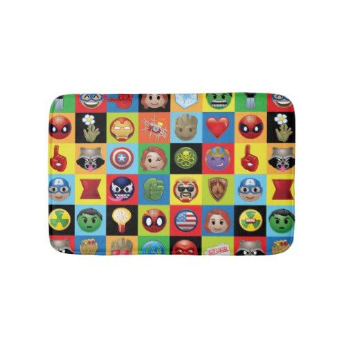 Marvel Emoji Characters Grid Pattern Bathroom Mat