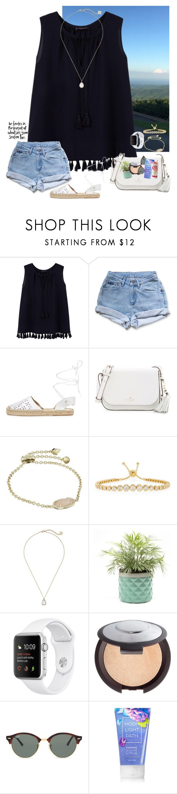 """""""please please please rtd"""" by taybug2147 ❤ liked on Polyvore featuring Violeta by Mango, Levi's, Maiden Lane, Kate Spade, Kendra Scott, Jemma Wynne, Becca, Ray-Ban and bathroom"""