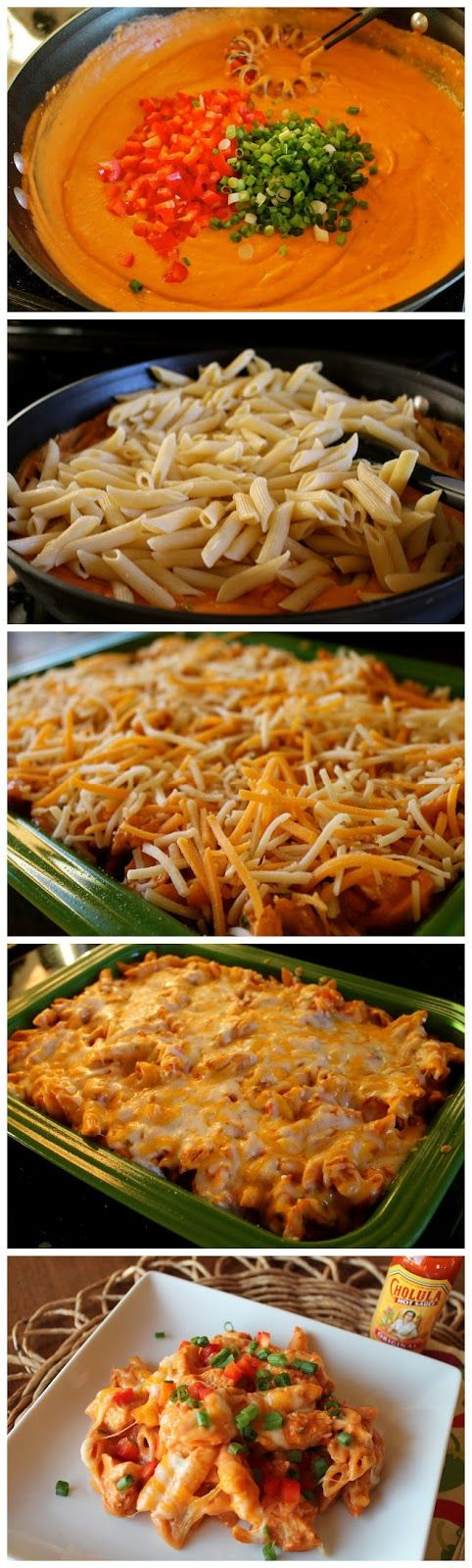 Cheesy Chicken Enchilada Pasta: 3 Chicken breasts, Salt and Pepper for seasoning, 1 lb Penne Pasta, 1 Red pepper, Chopped 6 Green Onions, Chopped 3 tablespoons Butter, 1/4 cup Flour 28 oz mild or hot Enchilada Sauce, 4 oz Cream Cheese (1/3 the fat), 1+1/2 cups Mexican Blend Cheese (STEP BY STEP IMAGES)