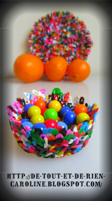 Mother's Day Bowls:  Bowl from melted plastic beads.  Place plastic beads in muffin pan that has been sprayed with Pam.  Heat several minutes at 390 degrees.  Let cool and have small bowl.