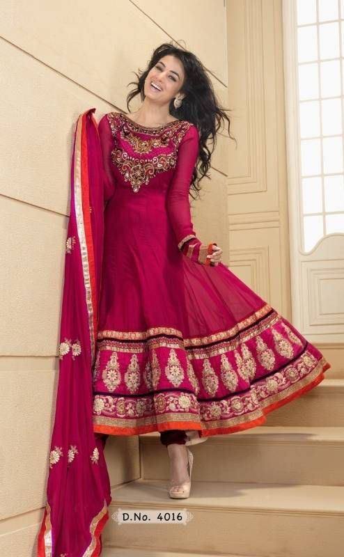 Buy Ethnic deep pink color semi stitched anarkali suit Online