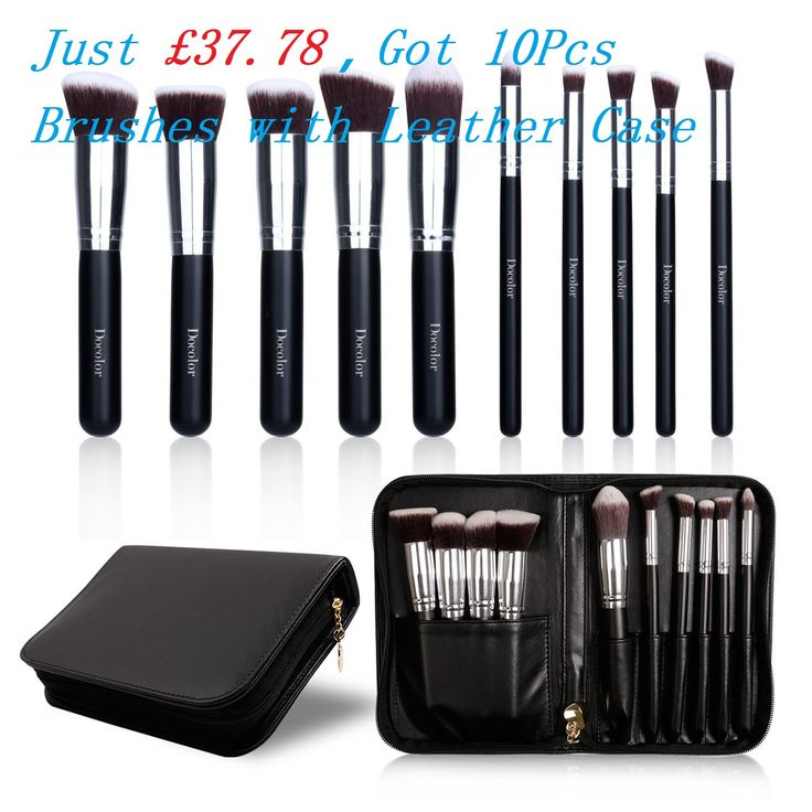 Just £37.78--Docolor 10Pcs Makeup Brushes with Leather Case for professional Eye Eyeshadow Foundation Powder