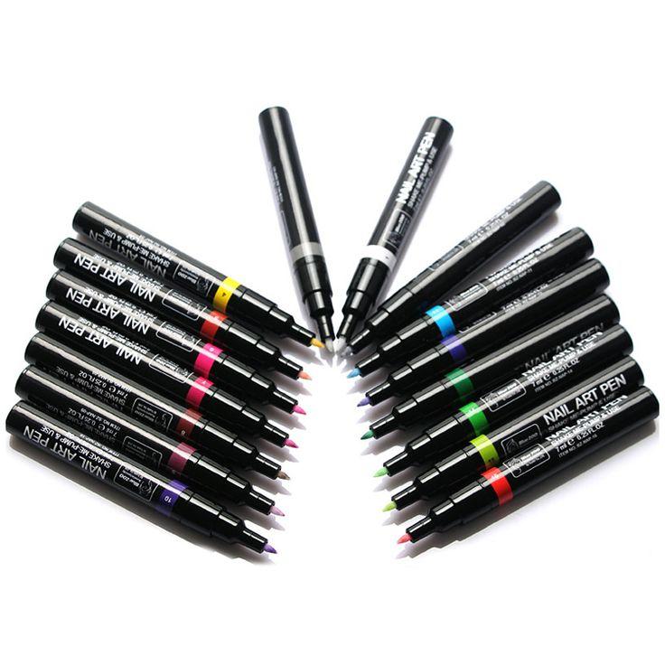 16 pcs/lot Fashion Nail Art Pen for 3D Nail Art DIY Decoration Nail Polish Pen Set 3D Design Nail Beauty manicure Tools