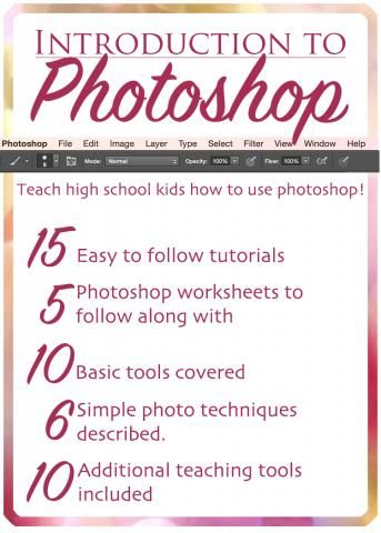 Photoshop Introduction. Easy to follow tutorials and simple worksheets to help students understand how to use Photoshop