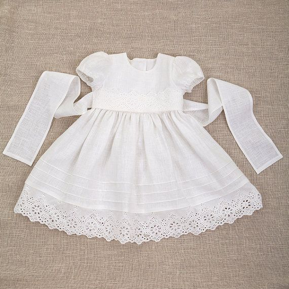 Baby girl baptism linen dress heirloom white gown by Graccia