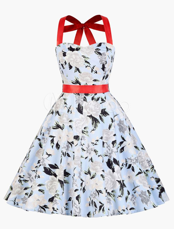 Vintage Swing Dress With Whole Flowers Print