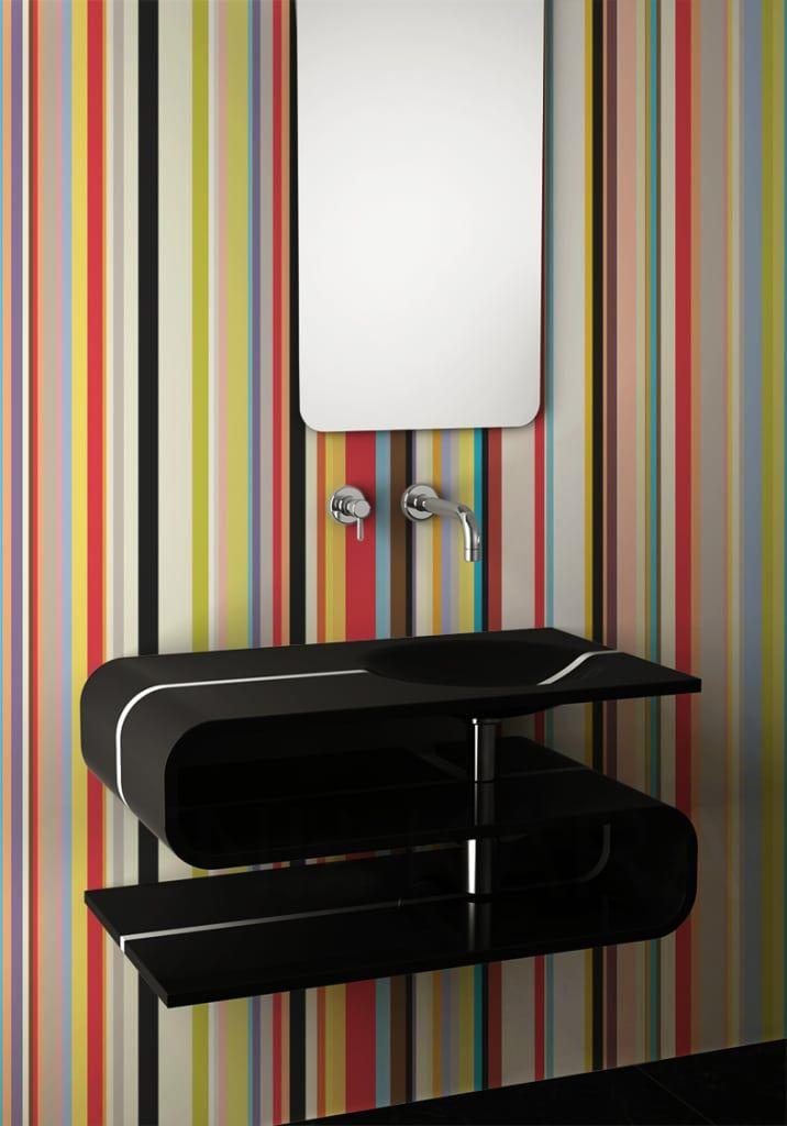 Mükemmel bir banyo için duvar kağıdı modelleri (Kimden: Homify )