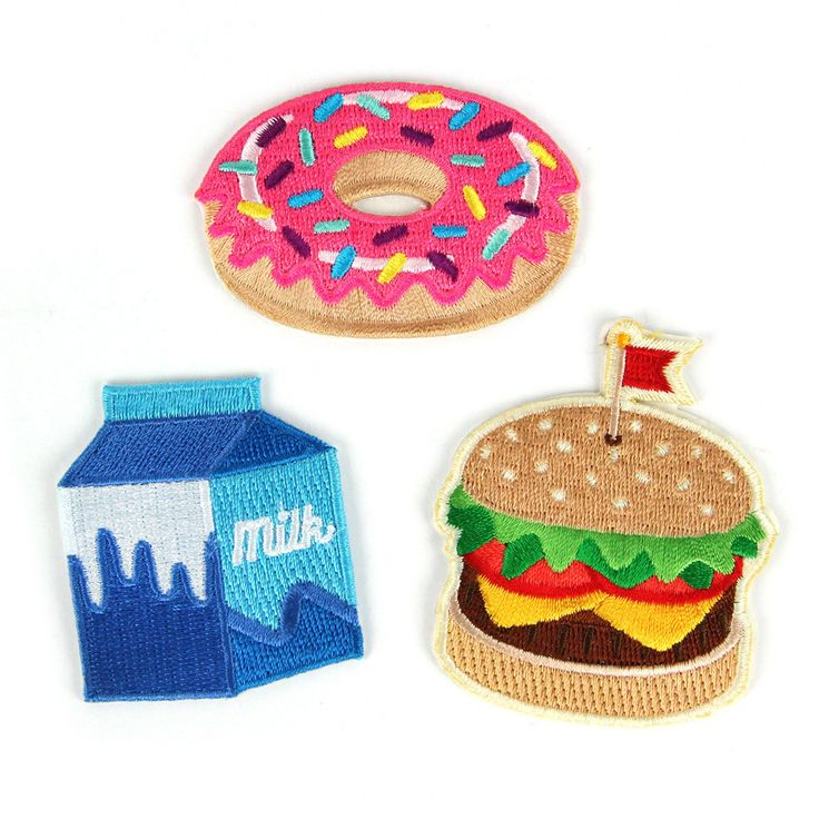 Food Fight Decorative Embroidered Sew or Sticker Patch Pack