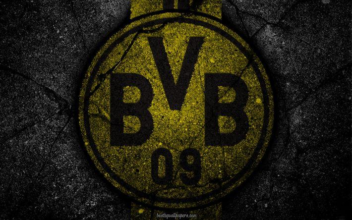 Download wallpapers Borussia Dortmund, BVB 09, logo, art, Bundesliga, soccer, football club, FC Borussia Dortmund, asphalt texture, BVB