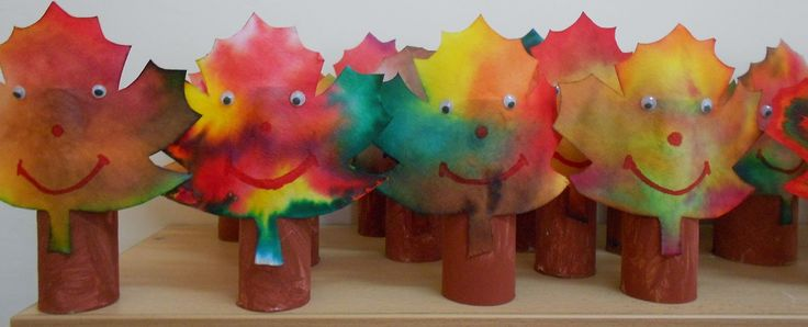 Autumn trees made from TP rolls & coffee filters
