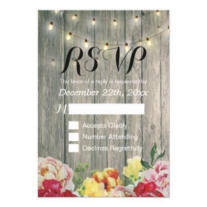 Rustic Wood Floral String Light Wedding RSVP Reply Card - string of lights wedding gifts diy marriage party personlize unique