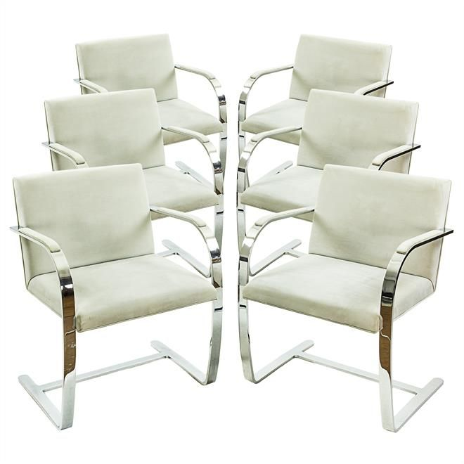 Set of 6 grey suede BRNO chairs by Ludvig Mies van der Rohe for Knoll.. Karaakter