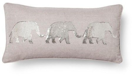 Mudhut Elephant Throw Pillow - Gray (Square