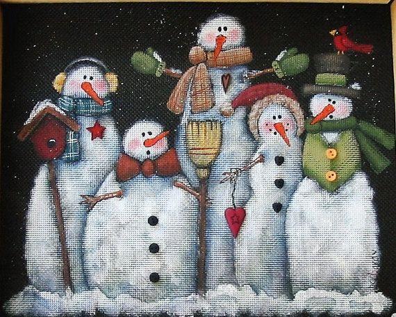 Tole Painting Pattern Glacier Men or Snowmen por barbsheartstrokes