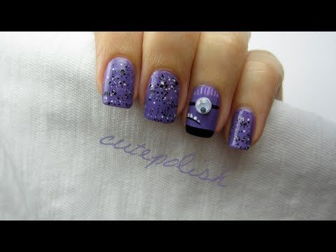 Despicable Me 2: Evil Purple Minion Nails tutorial. From the same clever girl ( from cutepolish) who showed you the yellow minions. I love her designs...