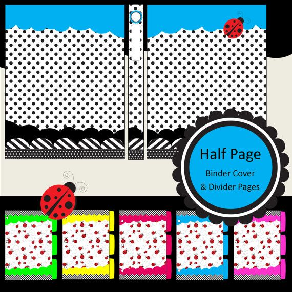 Half page printable binder covers spine label inserts for Half page labels