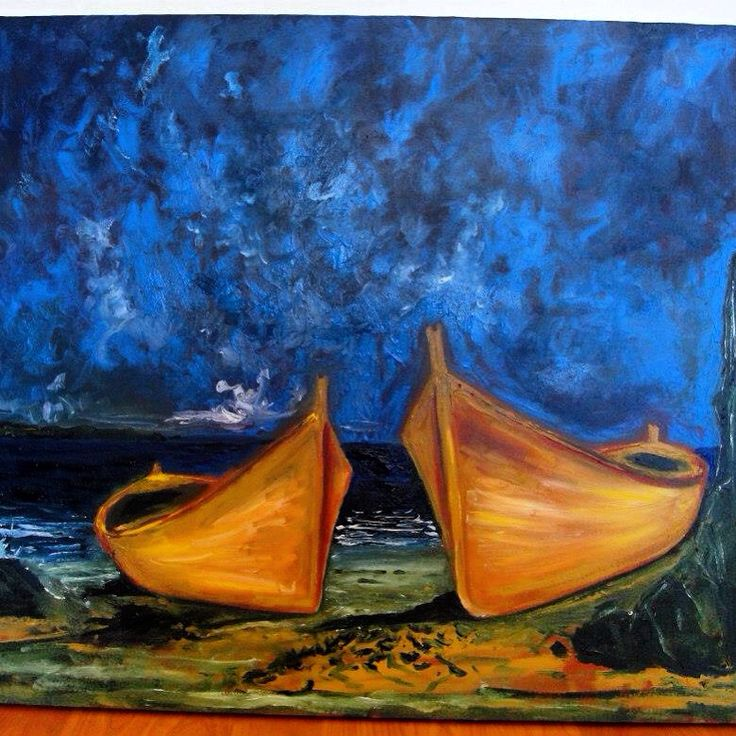 Botes - óleo Ricardo Montes Moscoso