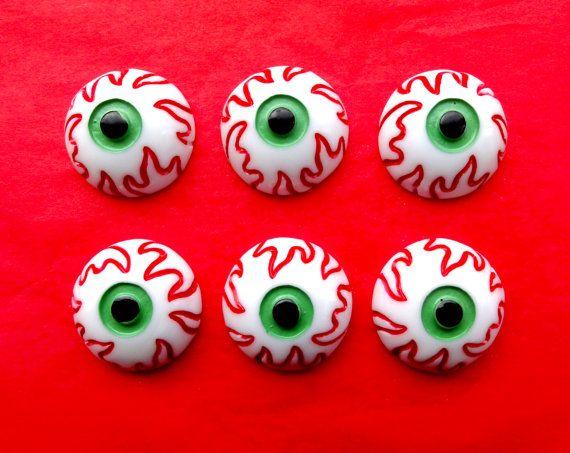 5 pcs  Eyeball Resin Flatback Cabochon  24mm  by CraftyMissBettie