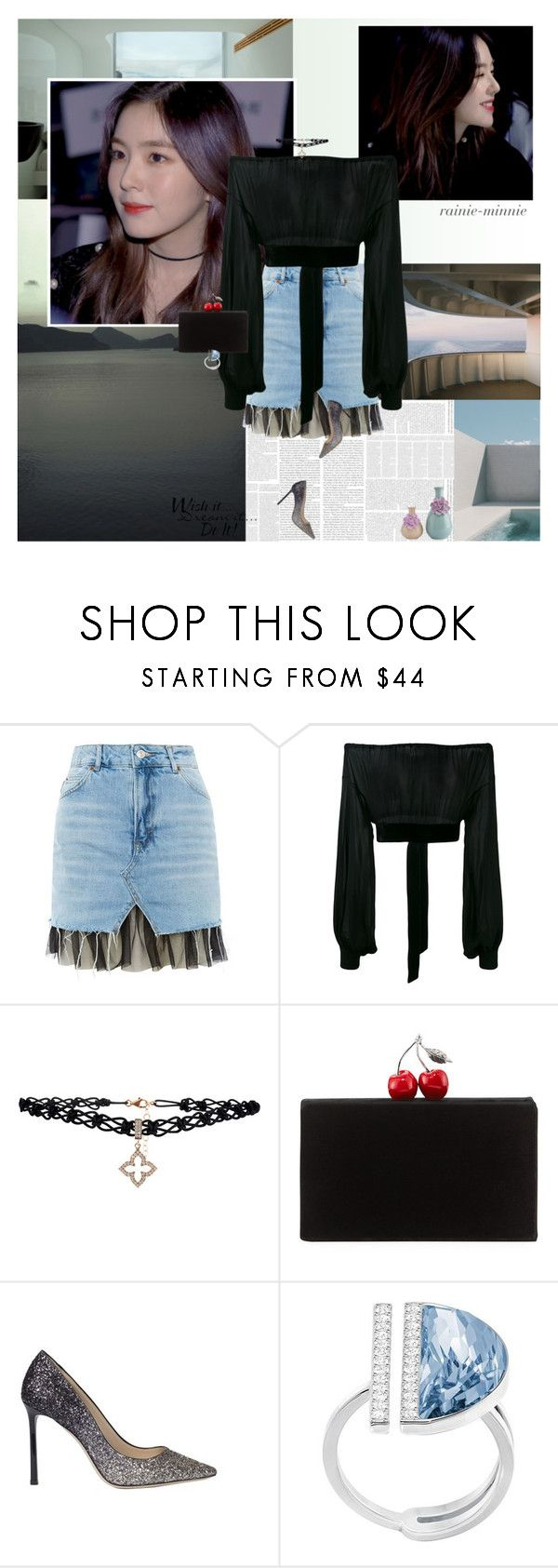 """""""Stay Beautiful"""" by rainie-minnie on Polyvore featuring Topshop, Yves Saint Laurent, Edie Parker, Jimmy Choo, Swarovski and WALL"""