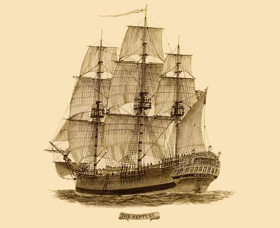 "Drawing of the convict transportation ship ""Neptune"" that operated between England and Australia in 1789."