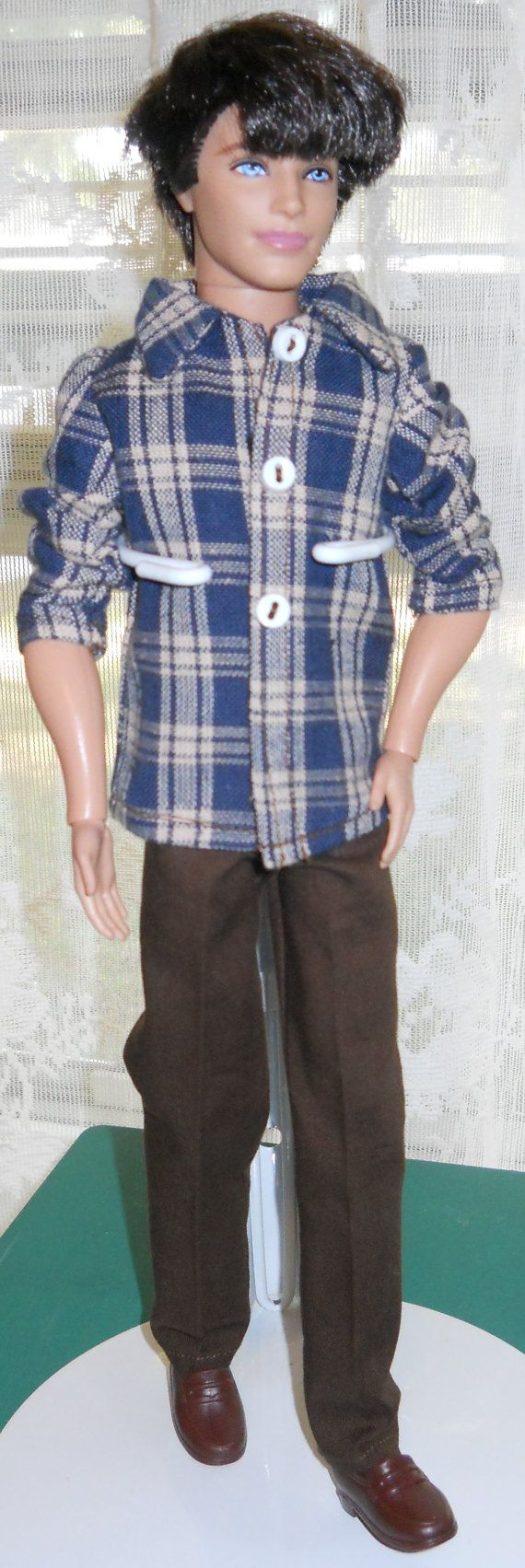 Handmade Ken Plaid Shirt and Brown Pants by AuntieLousCrafts, $9.50