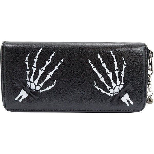 Banned Gothic Lolita Skeleton Hands with Black Bow Zip Around Wallet (61 BAM) ❤ liked on Polyvore featuring bags, wallets, bow wallet, goth wallet, gothic bags, goth bags and zip around wallet