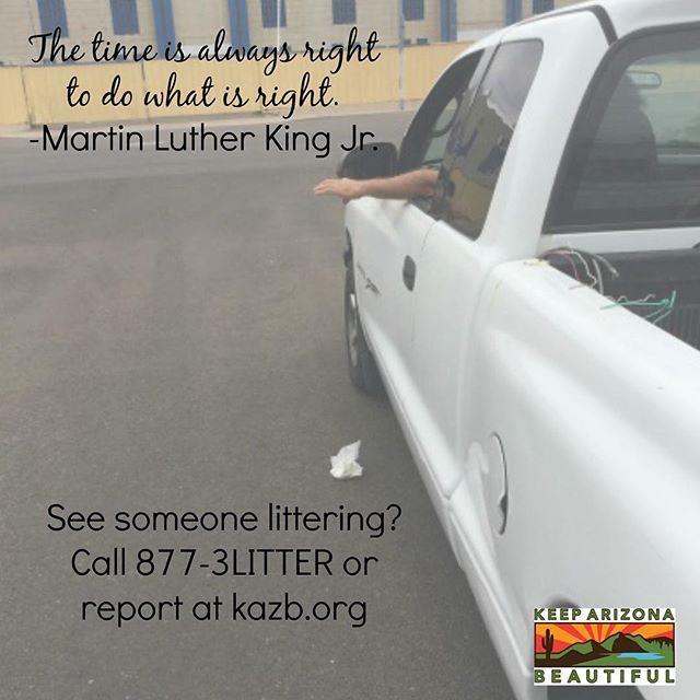 Arizona Litter Hotline-report highway littering at 877-3LITTER or KAZB.org